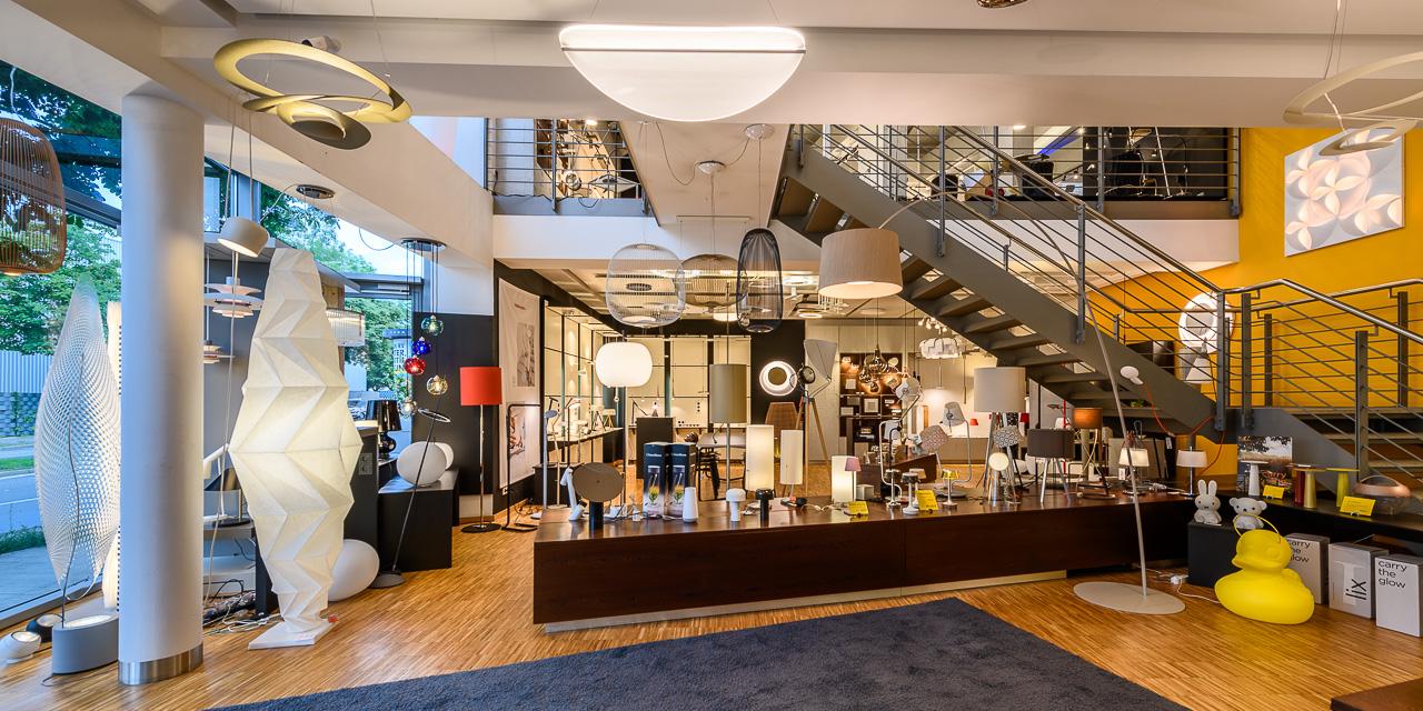Showroom im Lampen-Studio Lichtland in Essen